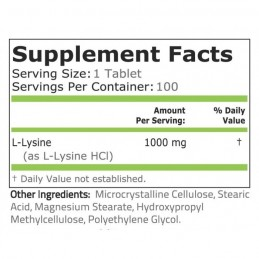 L-Lizina, L-Lysine, 1000 mg, 100 Capsule
