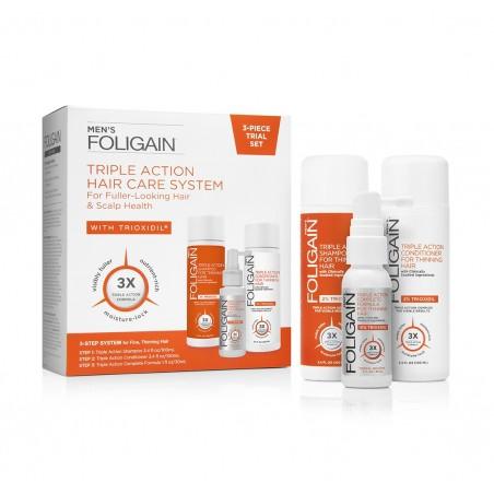 Foligain set tripla actiune, tratament caderea parului barbati, Sampon, Balsam si Lotiune