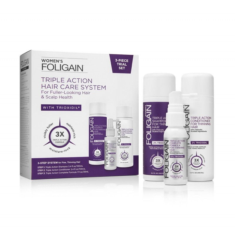 Foligain set tripla actiune, tratament caderea parului femei, Sampon, Balsam si Lotiune