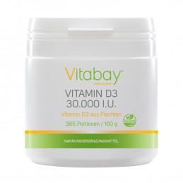 Vitamina D3 30.000 UI - pulbere vegană din licheni - 365 de porții, fără capsule