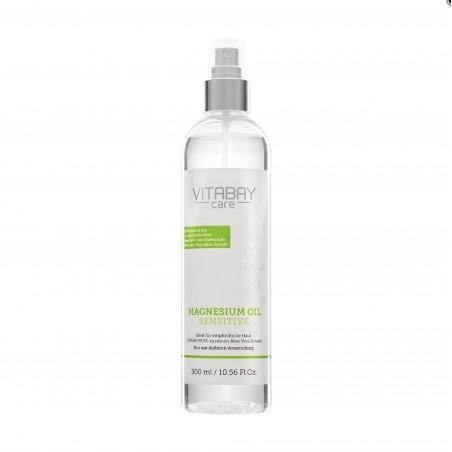 Vitabay Original ulei de magneziu Zechstein sensibil 300 ml - spray de clorură de magneziu cu 99,9% Aloe Vera Organică
