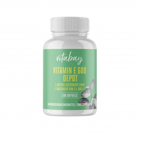 Vitabay Super Vitamina E 600 UI pe doza, doza mare, 100 Capsule vegan
