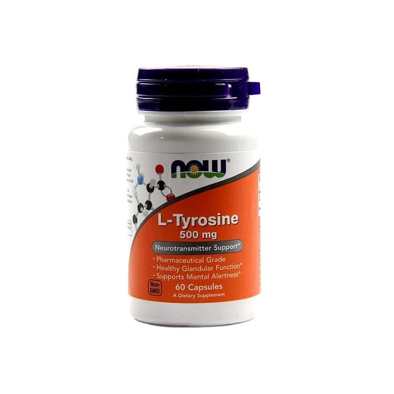 NOW L-Tyrosine, 500 mg, 60 Capsule (L-Tirozina), pret, prospect, beneficii, doze, indicatii, efecte, pareri