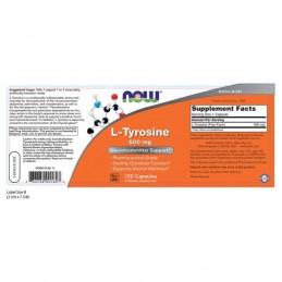 NOW L-Tyrosine, 500 mg, 120 Capsule (L-Tirozina), pret, prospect, beneficii, doze, indicatii, efecte, pareri