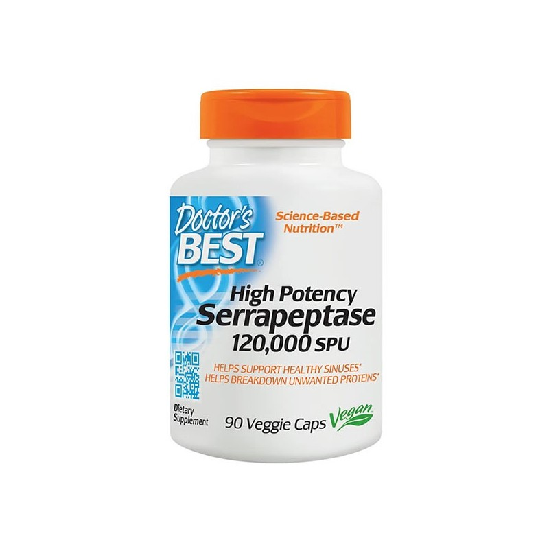 Serrapeptase 120 000 SPU High Potency 90 Capsule, pret, prospect, beneficii, indicatii, efecte, pareri