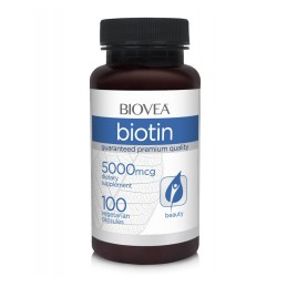 Biotina 5000 mcg, 100 capsule, Vitamina B7, Vitamina H