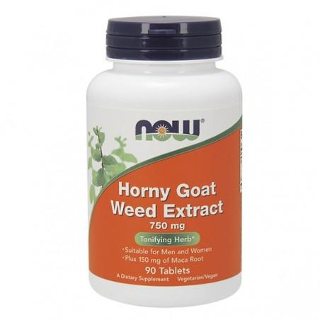 Now Foods Horny Goat Weed cu Maca 750 mg 90 Capsule, Iarba Caprei Nebune