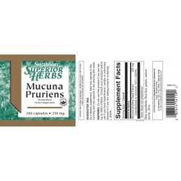 Swanson Superior Mucuna Pruriens 350 mg 200 Capsule, L-Dopa Mucuna Semințele Mucuna Pruriens oferă un impuls natural dorinței se