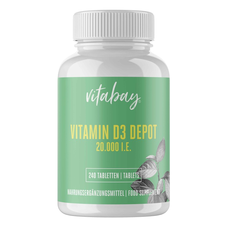 Vitamina D3 - 20.000 UI - 240 Tablete, 10.000% Doza zilnica, foarte concentrat