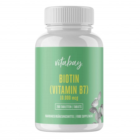 Vitabay Biotina 10.000 mcg 10 mg - 200 Tablete Vegan