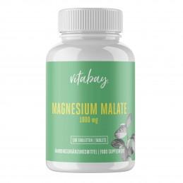 Vitabay Magneziu Malat 1000 mg - 180 Tablete Vegan Beneficii Malat de Magneziu:ajuta la eliminarea metalelor grele din organism