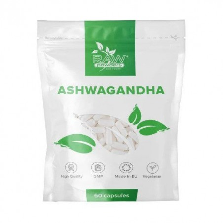 Raw Powders Ashwagandha, Ginseng Indian 500 mg 60 capsule