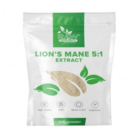 Raw Powders Lion's Mane 5: 1 Extract Pulbere 100 grame