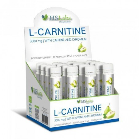 HS Labs L-Carnitina 3000mg cu Cafeina si Crom 25 ml 20 Fiole