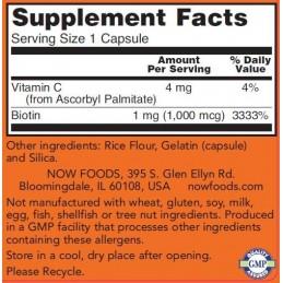 NOW Foods Biotin, 1000mcg - 100 Capsule