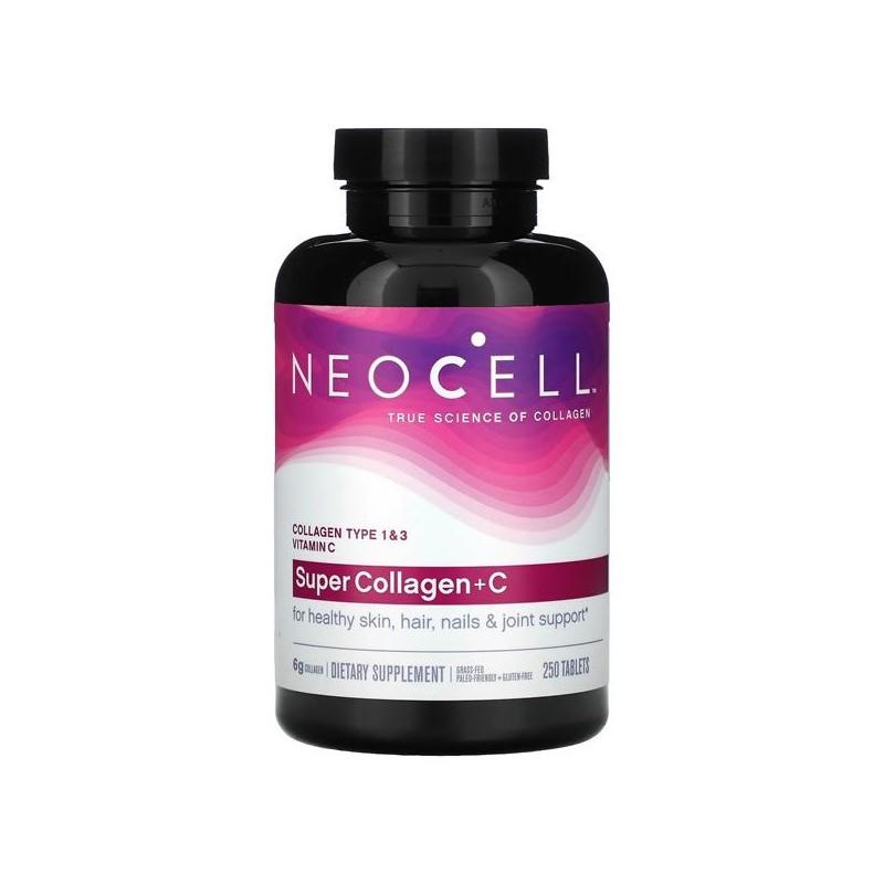Neocell, Super Collagen + Vitamina C, 250 Tablete, piele, unghii, par, proprietati, indicatii, preturi