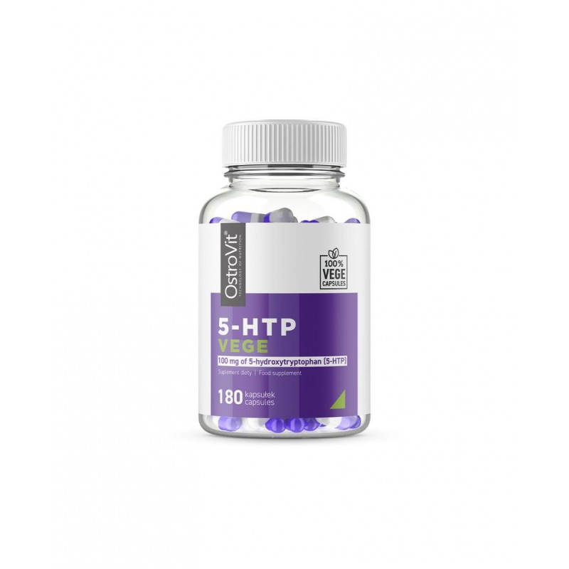 OstroVit 5-HTP VEGE 100 mg 180 Capsule Beneficii 5-HTP:ajuta la atenuarea anxietatii si stresului, creste natural nivelul de Se