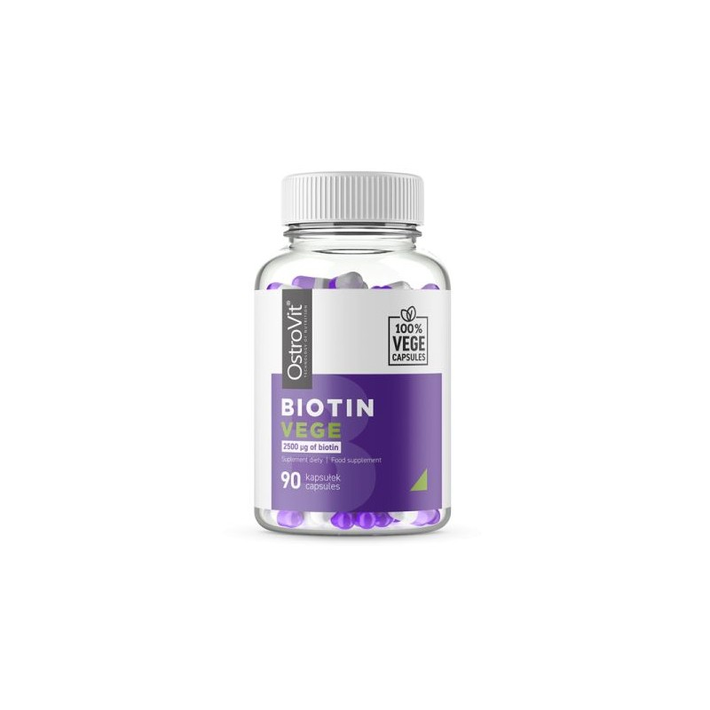 OstroVit Biotina VEGE 2500 mcg 90 Capsule Beneficii Biotina: importanta pentru par, piele si sanatatea unghiilor, nutrient esent