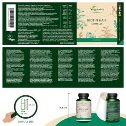 Vegavero Biotin Hair Complex, 120 Capsule Beneficii Biotina: asigura o biodisponibilitate ridicata a nutrientilor care sustin pa