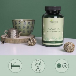 Vegavero GABA PLUS, 120 de capsule Beneficii GABA: promoveaza relaxarea, sustine un somn linistit si odihnitor, imbunatateste re