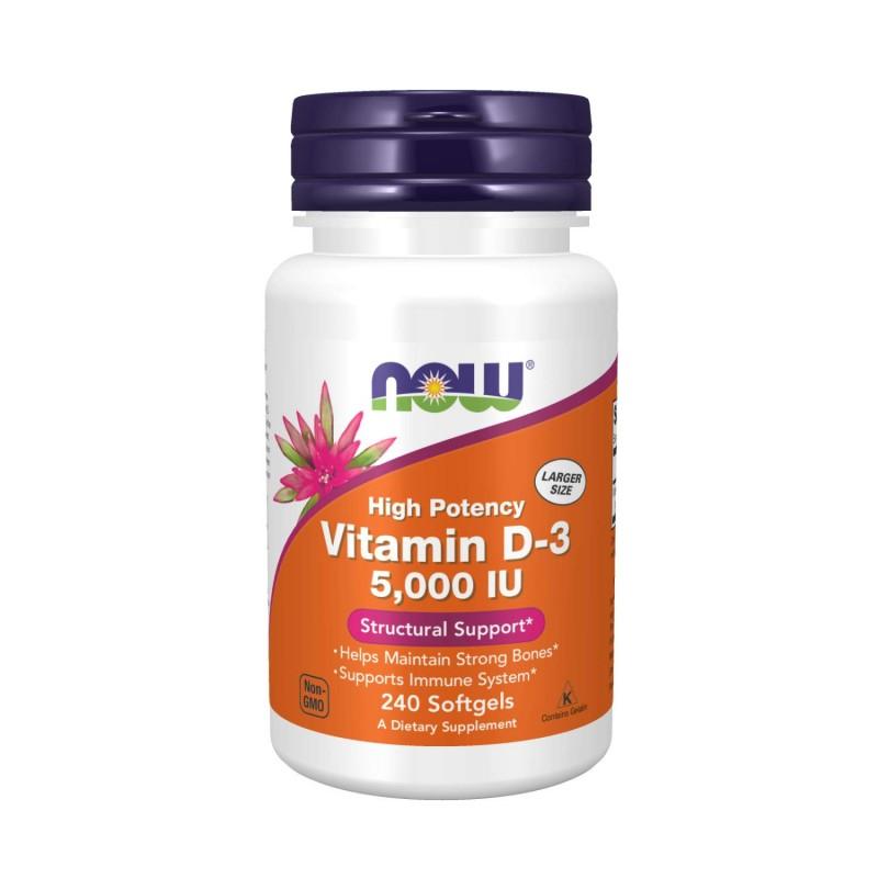 Now Foods Vitamina D3 5000 IU, 240 Capsule Beneficii Vitamina D3: contribuie la buna functionare a tiroidei, paratiroidei si hip