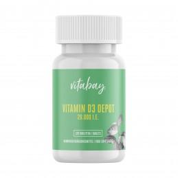 Vitabay Vitamina D3 - 20.000 UI - 120 Tablete vegane Beneficii Vitamina D3: cruciala pentru sanatatea oaselor, previne rahitismu