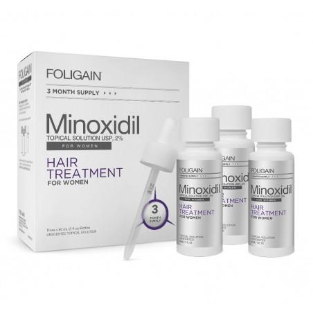 FOLIGAIN MINOXIDIL 2% Tratament pentru regenerarea parului pentru femei, 3 luni tratament