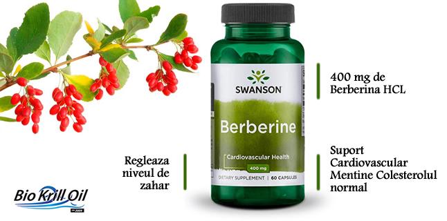 Berberine HCL 400 mg 60 Capsule beneficii indicatii tratament diabet